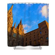 Warm Glow Cathedral - Impressions Of Barcelona Shower Curtain