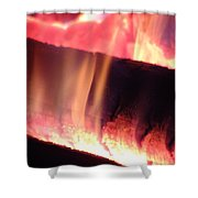 Warm Glowing Fire Log Shower Curtain