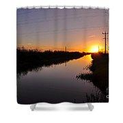 Warm Rural Sunset Shower Curtain
