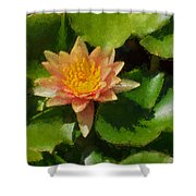 Warm Yellows Oranges And Corals - A Waterlily Impression Shower Curtain