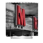 Warning M Rine Black And White Shower Curtain