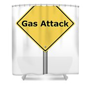 Warning Sign Gas Attack Shower Curtain