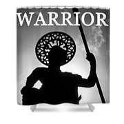 Warrior White Text Shower Curtain
