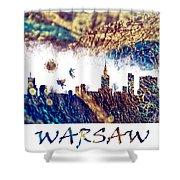 Warsaw Skyline Postcard Shower Curtain