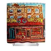 Warshaw's Bargain Fruit Store Rue St Laurent Montreal Paintings City Scene Art Carole Spandau Shower Curtain