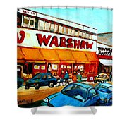 Warshaws Paintings Famous Fruit Store Main Street Montreal Art Prints Originals Commissions Cspandau Shower Curtain