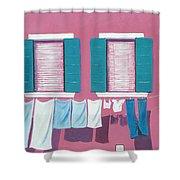 Washing Day Burano Venice Shower Curtain