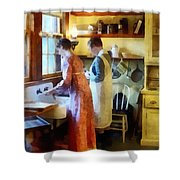 Washing Up After Dinner Shower Curtain