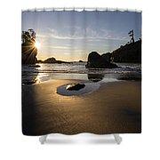 Washington Beach Sunstar Dusk Shower Curtain
