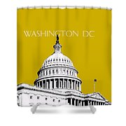 Washington Dc Skyline The Capital Building - Gold Shower Curtain