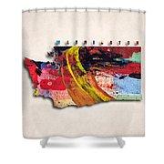 Washington Map Art - Painted Map Of Washington Shower Curtain
