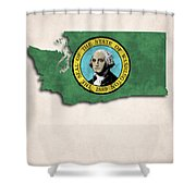 Washington Map Art With Flag Design Shower Curtain