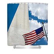 Washington Monument And Flag Shower Curtain