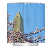 Washington Monument With Blossoms Shower Curtain