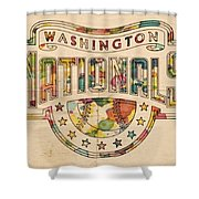 Washington Nationals Poster Art Shower Curtain