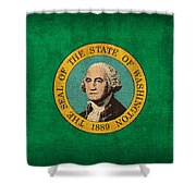 Washington State Flag Art On Worn Canvas Shower Curtain