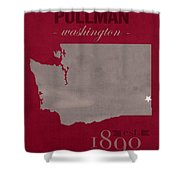 Washington State University Cougars Pullman College Town State Map Poster Series No 123 Shower Curtain