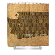 Washington Word Art State Map On Canvas Shower Curtain