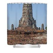 Wat Chaiwatthanaram Ubosot Platform And Buddha Images Dtha0189 Shower Curtain
