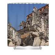Wat Chedi Luang Phra Chedi Luang Five-headed Naga And Elephants Dthcm0055 Shower Curtain