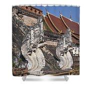 Wat Chedi Luang Phra Chedi Luang Five-headed Naga Dthcm0052 Shower Curtain