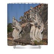 Wat Chedi Luang Phra Chedi Luang Five-headed Naga Dthcm0054 Shower Curtain