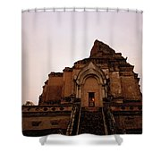 Wat Chedi Luang Sunset Shower Curtain