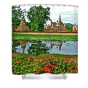 Wat Mahathat Reflection In 13th Century Sukhothai Historical Park-thailand Shower Curtain