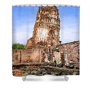 Wat Mahathat Temple In Ayutthaya Shower Curtain