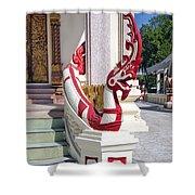 Wat Mahawanaram Ubosot Stair Naga Dthu656 Shower Curtain