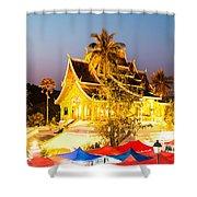 Wat Mai Temple And Night Market - Luang Prabang - Laos Shower Curtain