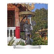 Wat Phuak Hong Phra Wihan Monk Figure Dthcm0579 Shower Curtain