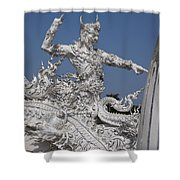 Wat Rong Khun Ubosot Causeway Guardian Dthcr0008 Shower Curtain