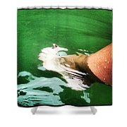 Watauga Lake Crystal Green Shower Curtain
