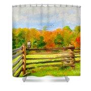 Watching Autumn Shower Curtain