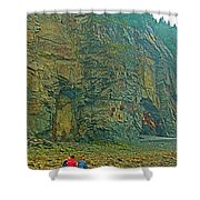 Watching Climbers From Ocean Floor At Cape Enrage-nb Shower Curtain