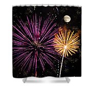 Watching Pink And Gold Explosion - Fireworks And Moon II Shower Curtain