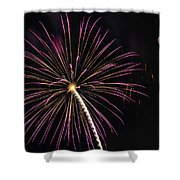 Watching Pink And Gold Explosion - Fireworks And Moon I  Shower Curtain
