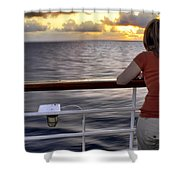 Watching The Sunrise At Sea Shower Curtain