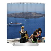 Watching The View In Santorini Island Shower Curtain