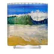 Watching The Wave As Come On The Beach Shower Curtain by Pamela  Meredith
