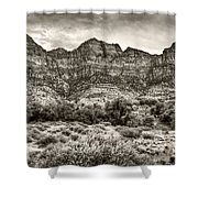 Watchman Trail In Sepia - Zion Shower Curtain
