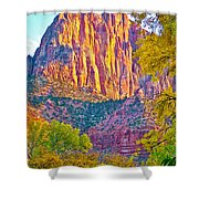 Watchman's Peak In Zion National Park-utah Shower Curtain