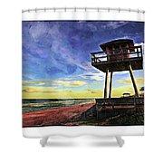 Watchtower On The Beach Shower Curtain