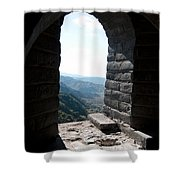 Watchtower Window View From The Great Wall 637 Shower Curtain