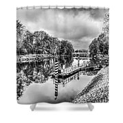 Water Bus Stop Bute Park Cardiff Mono Shower Curtain