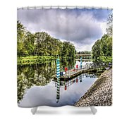 Water Bus Stop Bute Park Cardiff Shower Curtain