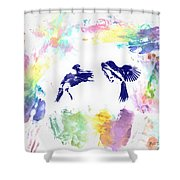 Water Color Bird Fight Shower Curtain