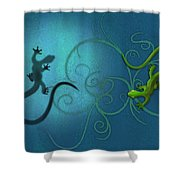 water colour print of twin geckos and swirls Duality Shower Curtain