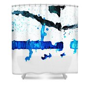 Water Dance - Blue And White Art By Sharon Cummings Shower Curtain